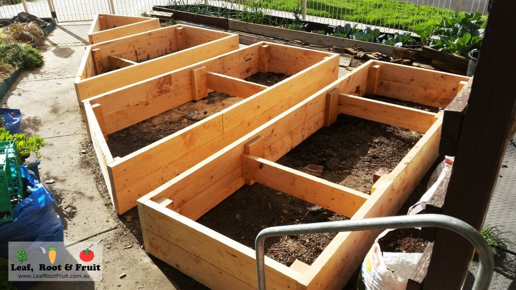 Raised Cypress Sleeper Garden Beds in Brunswick East