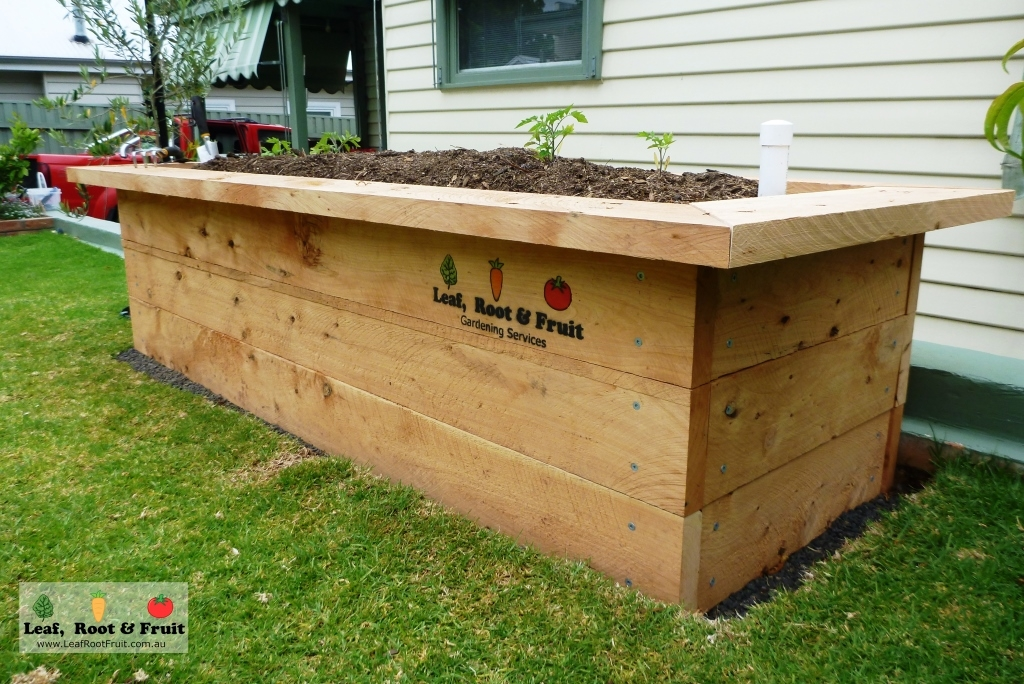 Rasied garden bed with a seat