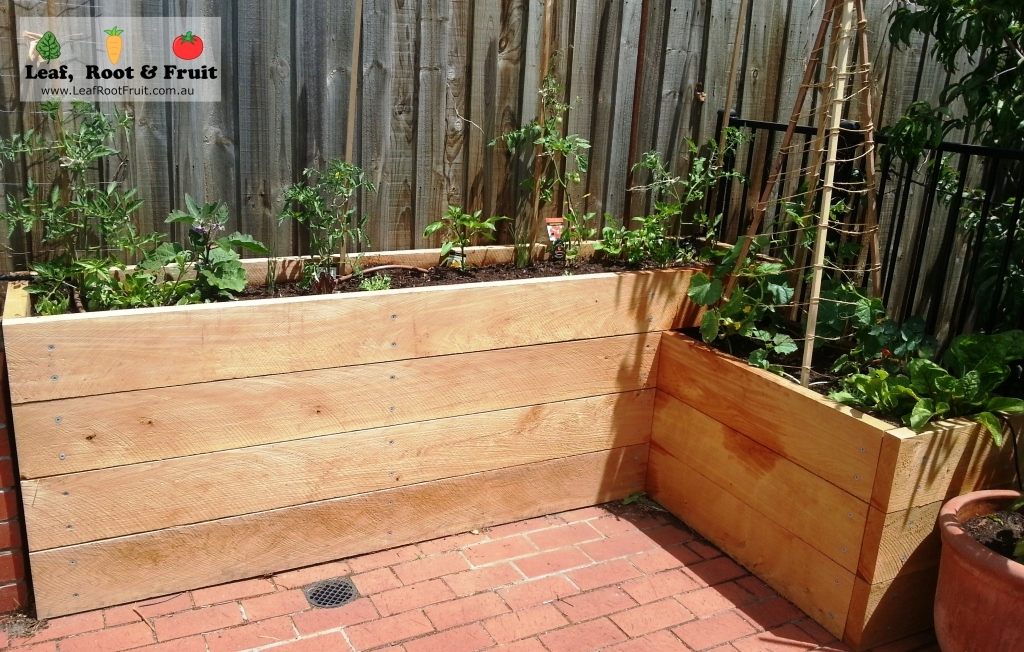 Cypress Sleeper Raised Vegetable Garden L-Shaped