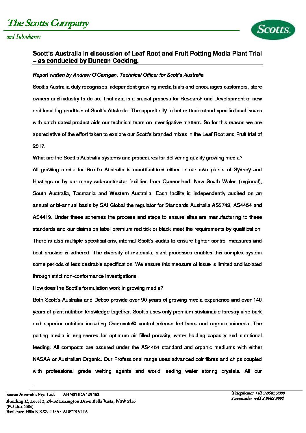Scotts Australia Response to Potting Mix Experiment - Leaf